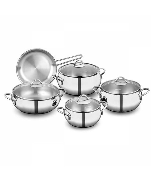 Premium Quality Stainless Steel Cookware 18 / 10 Cr-Ni 9 pieces set