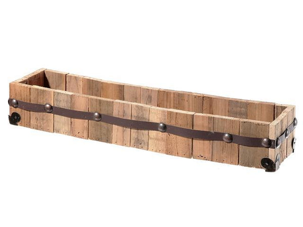 RECT. WOODEN PLANTER WITH STUDS (20 X 5) - BayShoomar