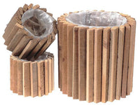 ROUND DOMINO WOOD BLOCKS PLANTER WITH LINER (SET OF 3) - BayShoomar