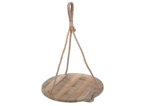 CEILING HANGING SINGLE ROUND WOODEN PLANTER - BayShoomar