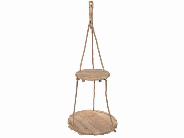 CEILING HANGING DOUBLE ROUND WOODEN PLANTER - BayShoomar
