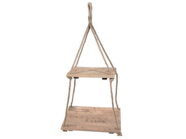 CEILING HANGING DOUBLE RECT. WOODEN PLANTER - BayShoomar