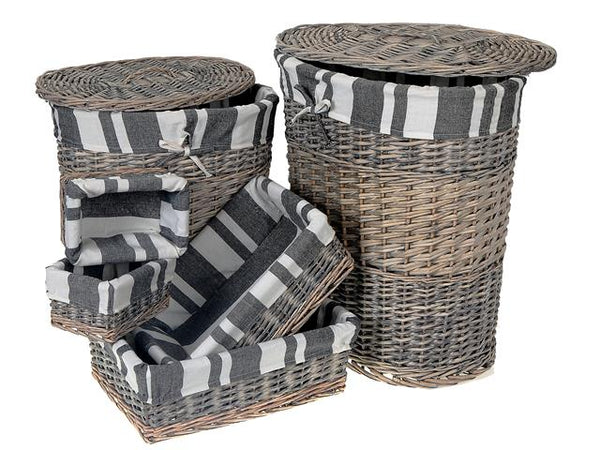 Laundry Hamper Wicker Oval Set of 6 - BayShoomar
