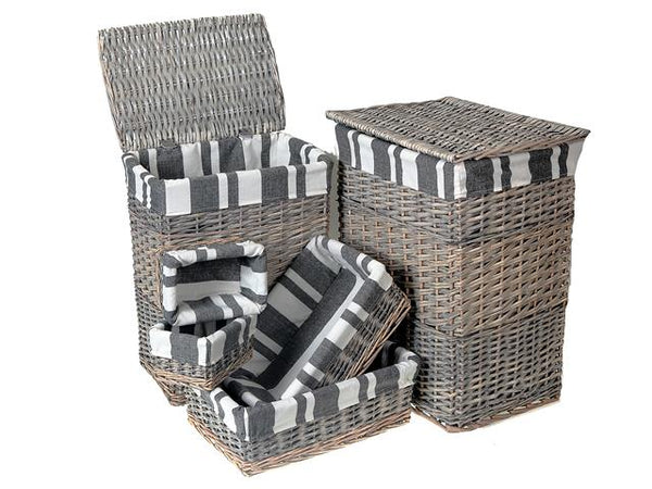 Laundry Hamper Wicker Rectangular Set of 6 - BayShoomar