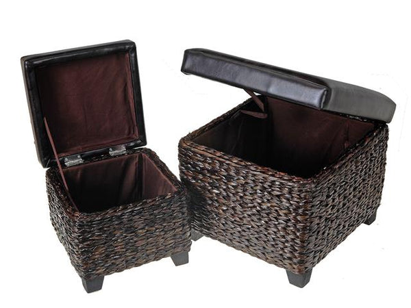 Wicker Square Storage Ottoman with P Leather Seat (Set of 2) [Brown | Grey] - BayShoomar