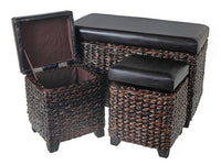 Wicker Storage Ottoman with P Leather Seat (Set of 3) [Brown | Grey] - BayShoomar