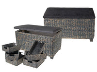 Wicker Storage Ottoman with P Leather Seat (Set of 8) [Brown | Grey] - BayShoomar