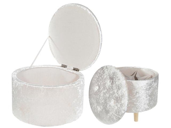 Velvet Tufted Round Storage Ottoman Beige Set of 2 - BayShoomar