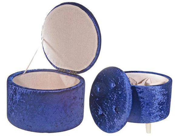 Velvet Tufted Round Storage Ottoman Navy Blue Set of 2 - BayShoomar