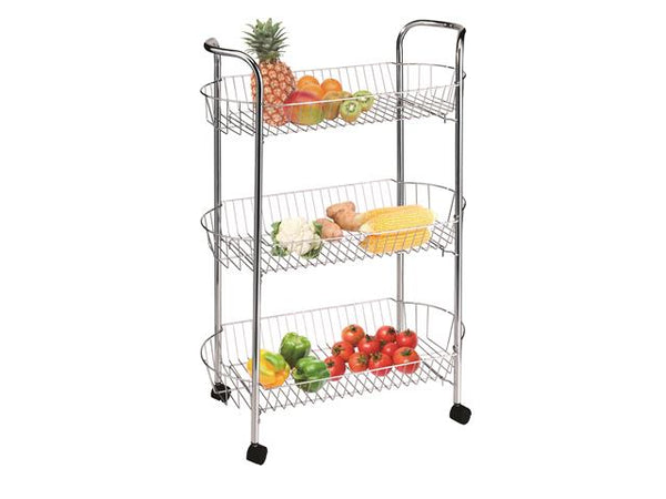 3 Tier Metal Trolley with wheels - BayShoomar