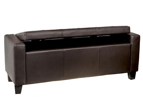 Leather Long Bench with Storage Espresso - BayShoomar