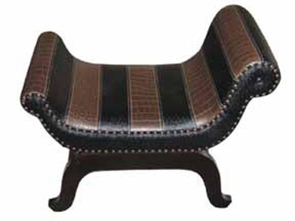 Leather Sleigh Bench Striped - BayShoomar
