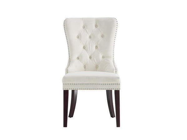 Velvet Tufted Dining Chair with Studded Edge Ivory - BayShoomar