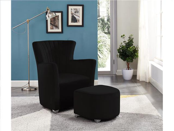 Arm Chair with Foot Stool Black - BayShoomar
