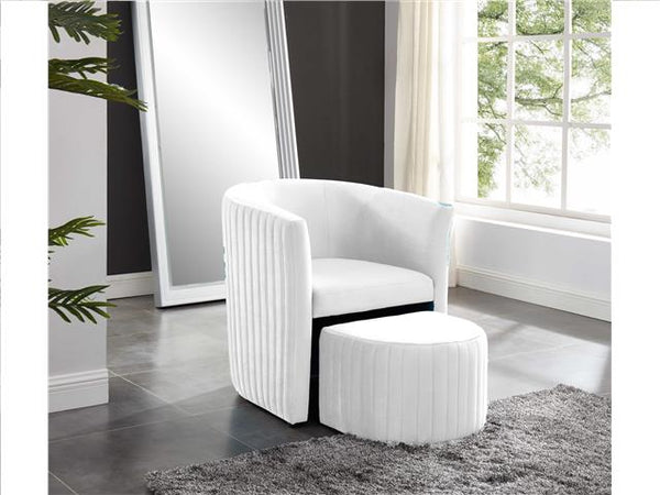 Barrel Chair with Foot Stool Beige - BayShoomar