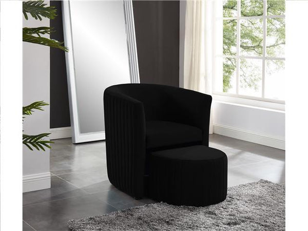 Barrel Chair with Foot Stool Black - BayShoomar
