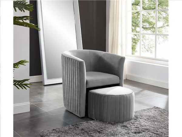 Barrel Chair with Foot Stool Gray - BayShoomar