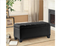 Leather Impression Rectangular Bench with Storage Black - BayShoomar