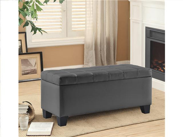 Leather Impression Rectangular Bench with Storage Gray - BayShoomar