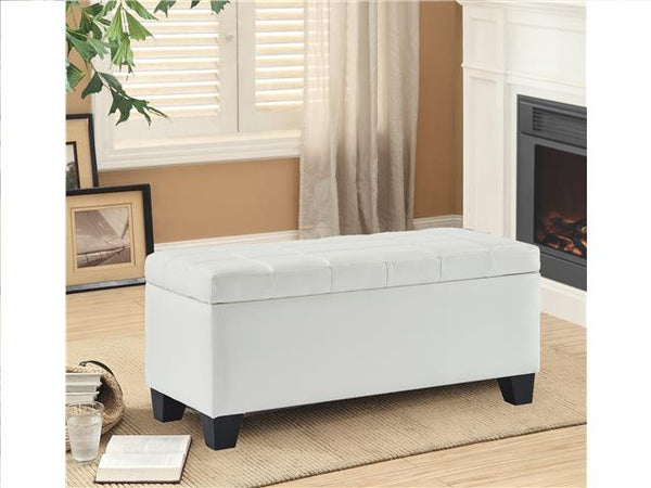 Leather Impression Rectangular Bench with Storage White - BayShoomar
