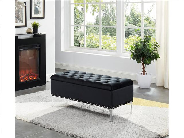 Imperial Tufted Bench with Storage Black - BayShoomar
