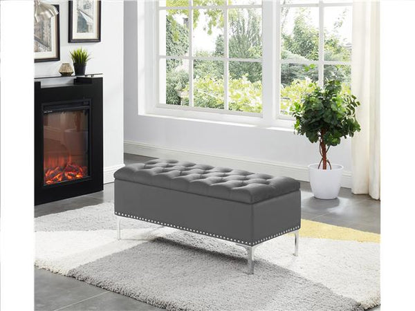 Imperial Tufted Bench with Storage Gray - BayShoomar