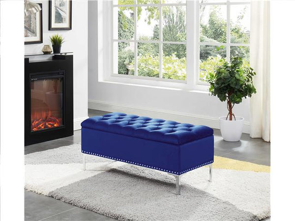 Imperial Tufted Bench with Storage Navy Blue - BayShoomar