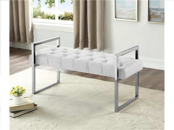 Imperial Tufted Bench with Silver Stand Beige - BayShoomar