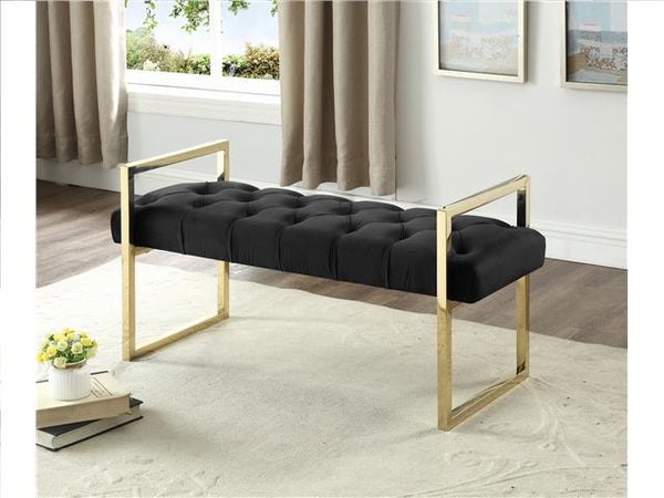 Imperial Tufted Bench with Silver Stand Black - BayShoomar
