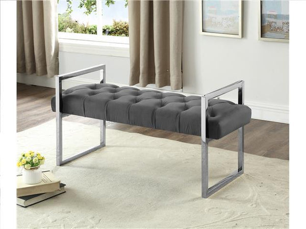 Imperial Tufted Bench with Silver Stand Gray - BayShoomar