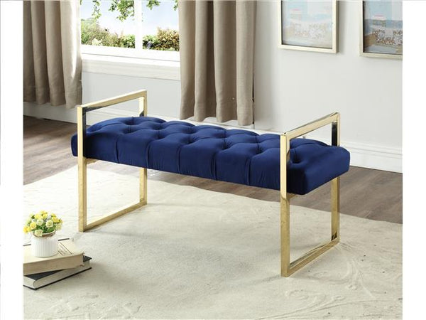 Imperial Tufted Bench with Silver Stand Navy Blue - BayShoomar