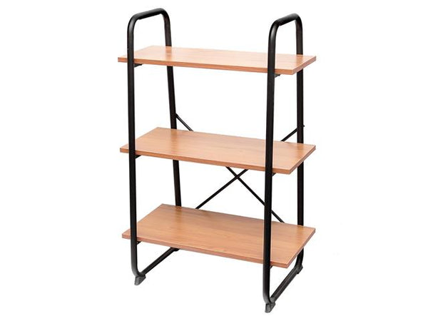 3 Tier Wooden Ascending Shelf with Metal Frame - BayShoomar