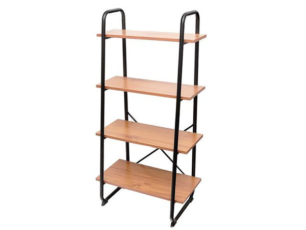 4 Tier Wooden Ascending Shelf with Metal Frame - BayShoomar
