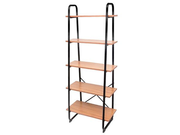 5 Tier Wooden Ascending Shelf with Metal Frame - BayShoomar