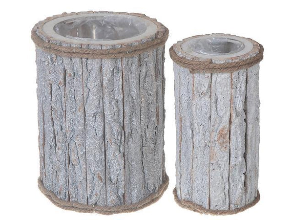 FLAT TREE BARK ROUND TALL PLANTER (SET OF 2) - BayShoomar