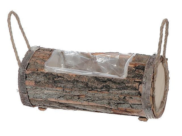 ROUND LOG PLANTER WITH LINER AND HANDLE (MEDIUM) - BayShoomar