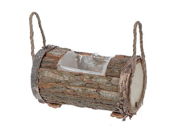 ROUND LOG PLANTER WITH LINER AND HANDLE (SMALL) - BayShoomar