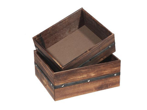 OCTAGON WOOD PLANK PLANTER WITH LINER (SET OF 2) - BayShoomar