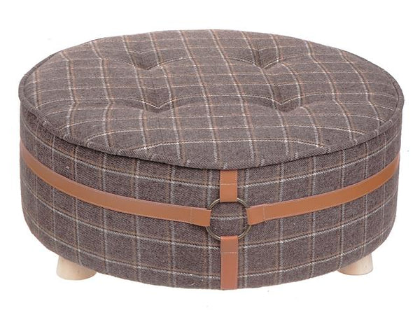 Velvet Foot Stool with Belt Embellishment [Brown | Blue] - BayShoomar