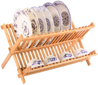 Collapsible Folding Dish Drying Rack Bamboo