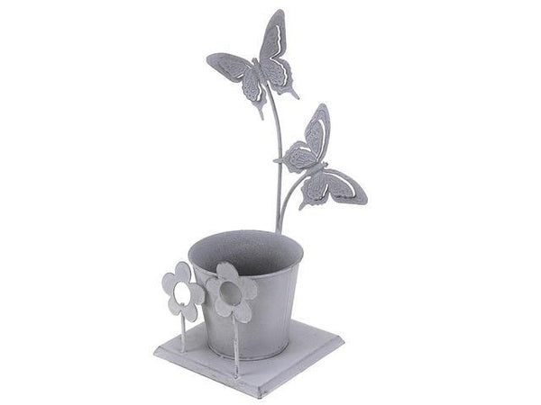 METAL 2 BUTTERFLIES SINGLE POT GARDEN PLANTER - BayShoomar
