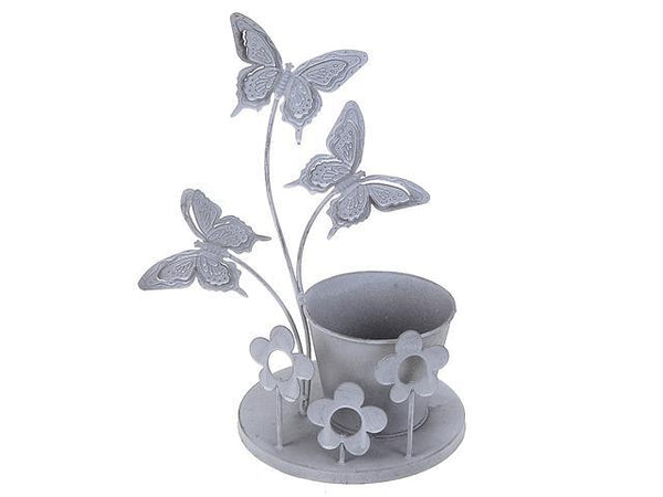 METAL 3 BUTTERFLIES SINGLE POT GARDEN PLANTER - BayShoomar