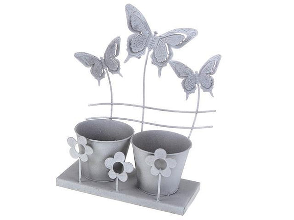 METAL BUTTERFLY DOUBLE POT GARDEN PLANTER - BayShoomar