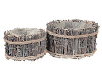 WOODEN TWIG PLANTER (SET OF 2) - BayShoomar