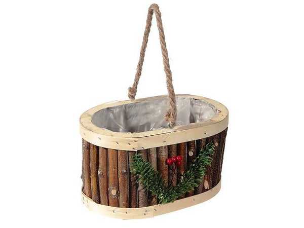 HANGING OVAL TWIG PLANTER (WITH LINER) - BayShoomar