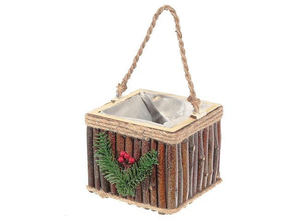 HANGING SQUARE TWIG PLANTER (WITH LINER) - BayShoomar