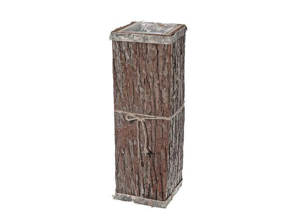 SQUARE WOOD BARK TALL PLANTER WITH LINER (LARGE) - BayShoomar