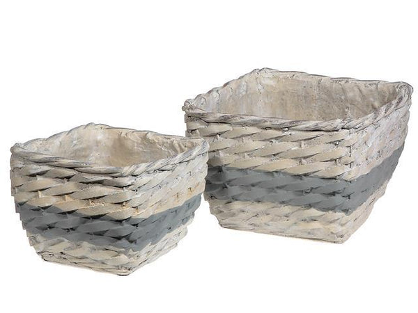 BASKETWEAVE CERAMIC SQUARE PLANTER (SET OF 2) - BayShoomar