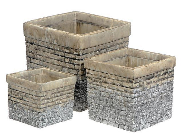 NESTING 3 PC CEMENT SQUARE PLANTER (BRICK GRAY) - BayShoomar