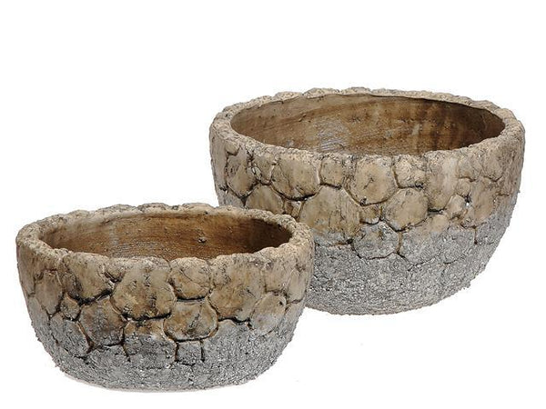 NESTING 2 PC CEMENT BOWL PLANTER (CRACKLED GRAY) - BayShoomar